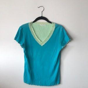 daisy fuentes ribbed top tshirt -s/m